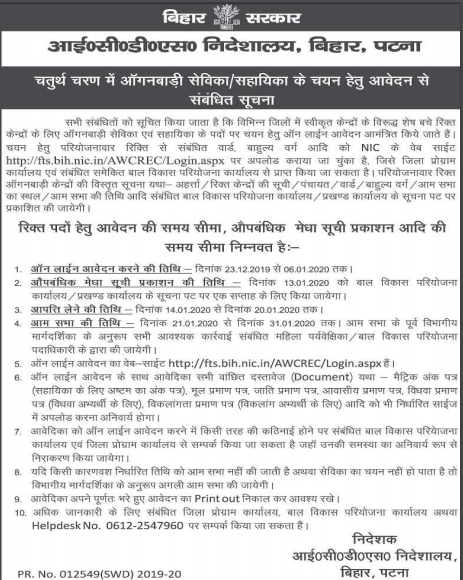 Bihar Anganwadi Recruitment 2020
